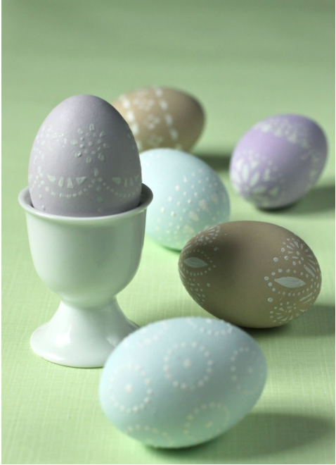 Doily Stenciled Eggs