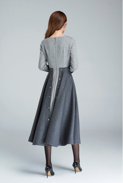xiaolizi wool dress back