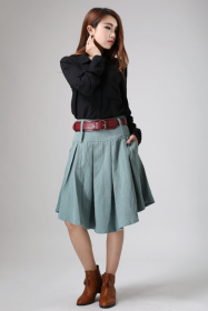 Green Linen Midi Skirt w Pocket
