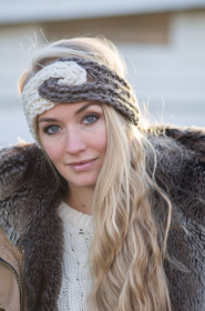 Grey and White Knit headband- ear warmer